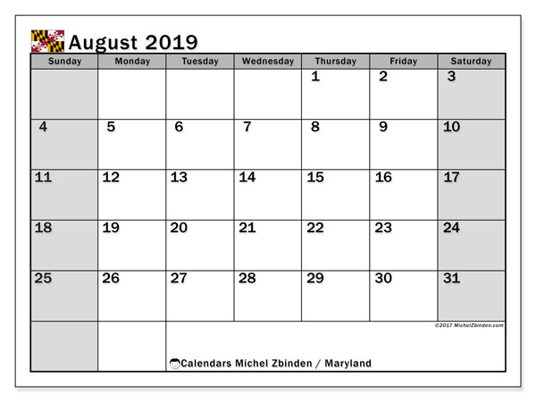August 2019 Calendar, with the holidays of Maryland. Holidays calendar to print free.
