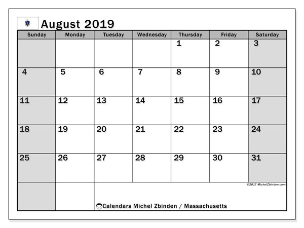 August 2019 Calendar, with the holidays of Massachusetts. Holidays calendar to print free.