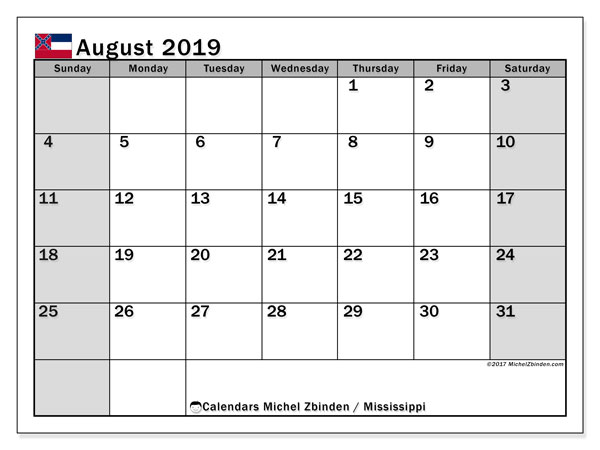 August 2019 Calendar, with the Mississippi holidays. Free printable calendar with public holidays.