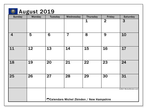August 2019 Calendar, with the holidays of New Hampshire. Holidays calendar to print free.