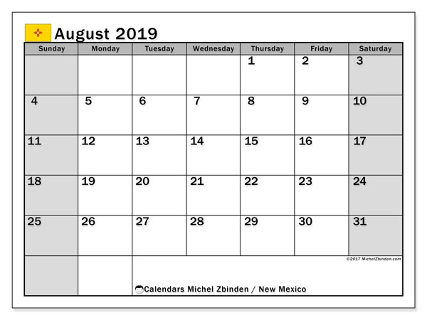 August 2019 Calendar, with the holidays of New Mexico. Holidays calendar to print free.