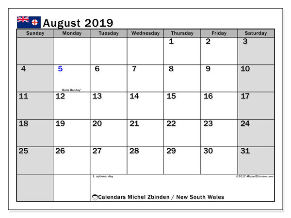 August 2019 Calendar, with the holidays of New South Wales. Holidays calendar to print free.