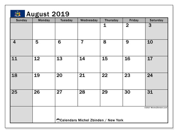 August 2019 Calendar, with the holidays of New York. Holidays calendar to print free.