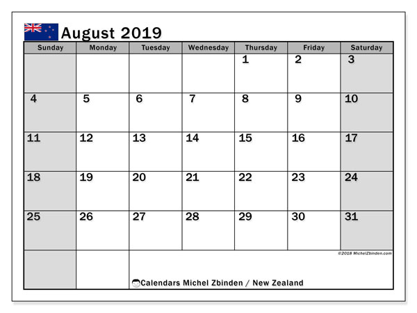 Calendar August 2019, with the holidays of New Zealand. Free printable monthly planner.