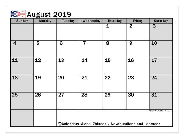 Calendar August 2019, with the holidays of Newfoundland and Labrador. Monthly planner to print free.