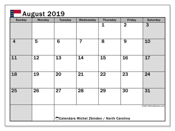 August 2019 Calendar, with the holidays of North Carolina. Free printable calendar with public holidays.