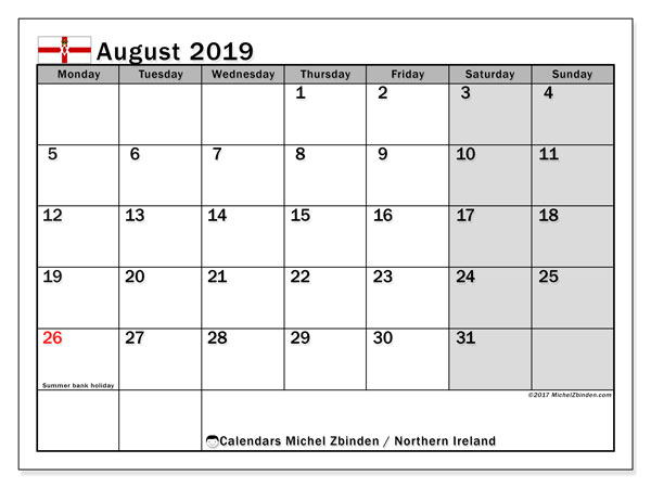 August 2019 Calendar, with the holidays of Northern Ireland. Holidays calendar to print free.