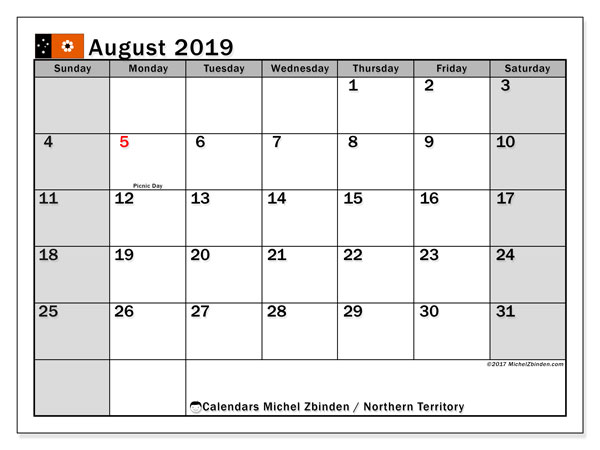 Calendar August 2019, with the holidays of Northern Territory. Planner to print free.