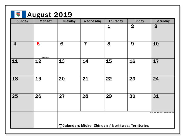 August 2019 Calendar, with the holidays of Northwest Territories. Holidays calendar to print free.