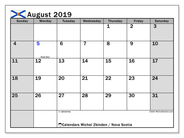 Calendar August 2019, with the holidays of Nova Scotia. Free printable monthly planner.