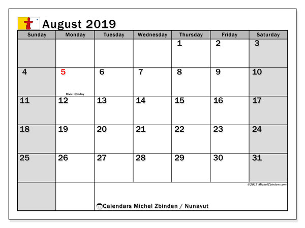 Calendar August 2019, with the holidays of Nunavut. Bullet journal to print free.