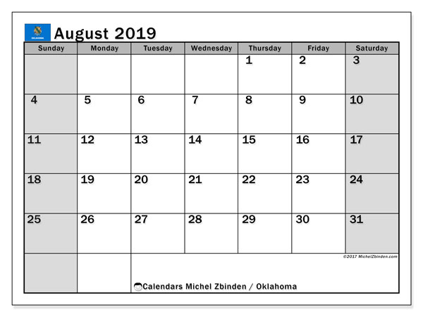 August 2019 Calendar, with the holidays of Oklahoma. Holidays calendar to print free.