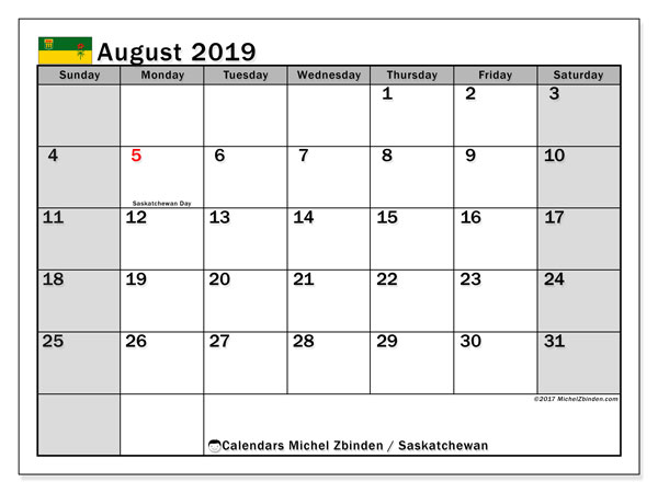 Calendar August 2019, with the holidays of Saskatchewan. Calendar for the month to print free.