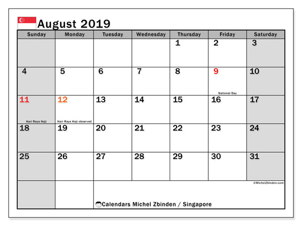 August 2019 Calendar, with the holidays of Singapore. Free printable calendar with public holidays.