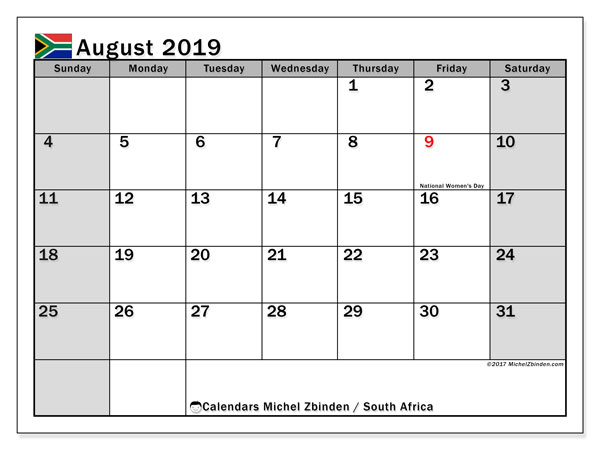 August 2019 Calendar, with the holidays of South Africa. Holidays calendar to print free.