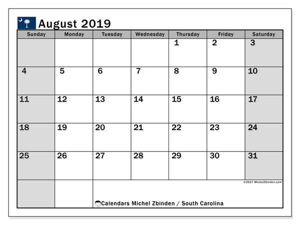August 2019 Calendar, with the holidays of South Carolina. Free printable calendar with public holidays.