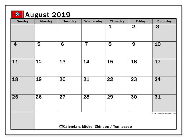 August 2019 Calendar, with the holidays of Tennessee. Holidays calendar to print free.