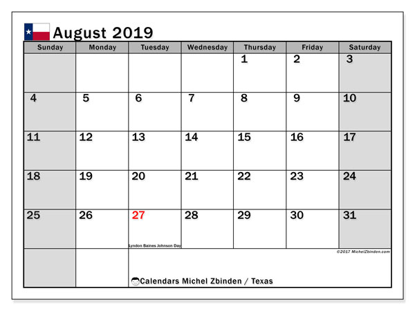 August 2019 Calendar, with the holidays of Texas. Free printable calendar with public holidays.