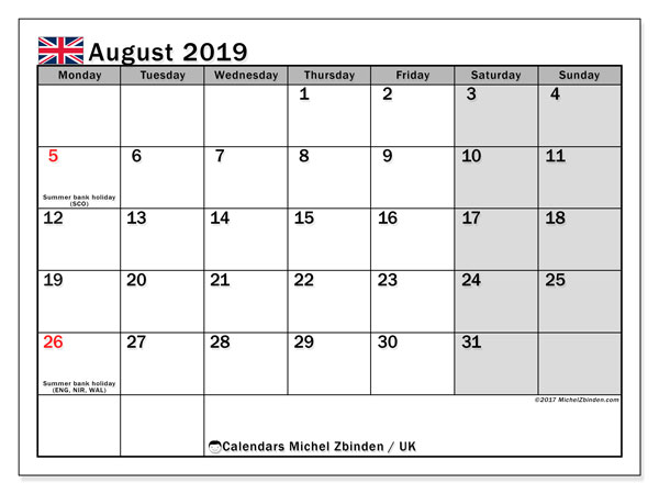 August 2019 Calendar With Holidays.August 2019 Calendar Uk Michel Zbinden En