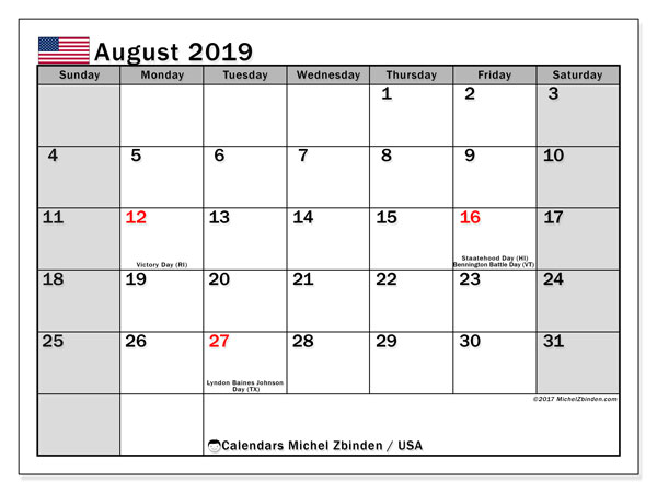 August 2019 Calendar, with the holidays of the USA. Holidays calendar to print free.