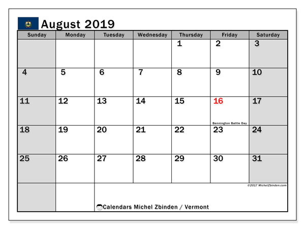 August 2019 Calendar, with the holidays of Vermont. Holidays calendar to print free.