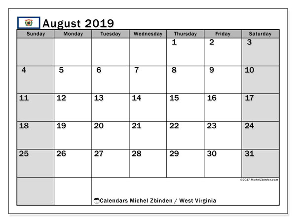 August 2019 Calendar, with the holidays of West Virginia. Free printable calendar with public holidays.