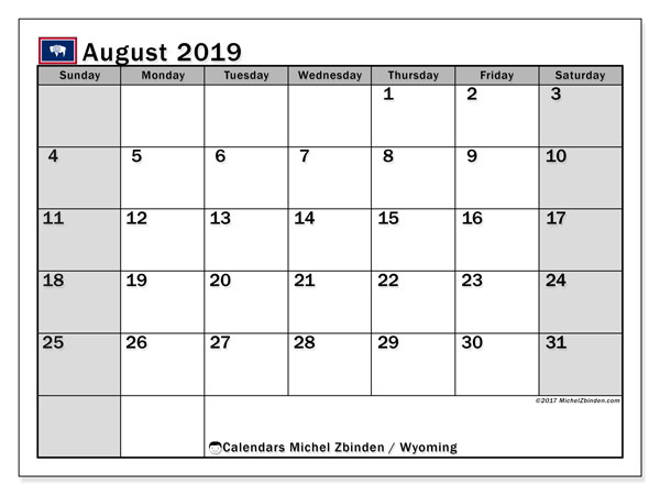 August 2019 Calendar, with the holidays of Wyoming. Holidays calendar to print free.