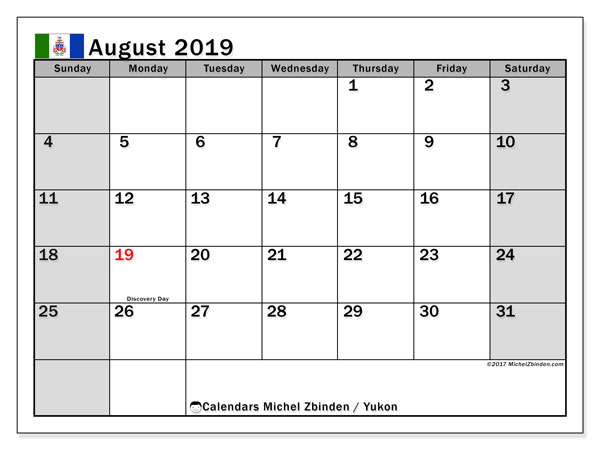 Calendar August 2019, with the holidays of Yukon. Monthly planner to print free.