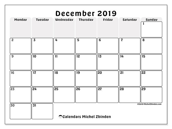 December 2019 Calendar, 44MS. Calendar for the month to print free.