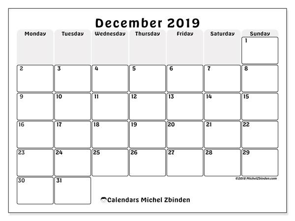 Calendar  December 2019, 44MS