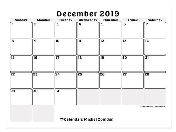 December 2019 Calendar, 44SS. Calendar to print free.