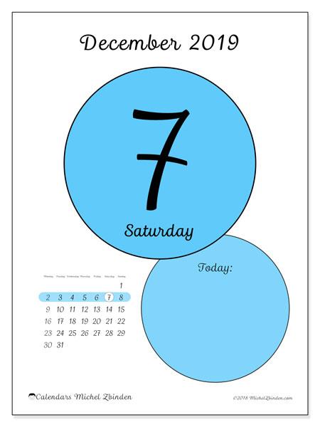 daily calendar december 2019