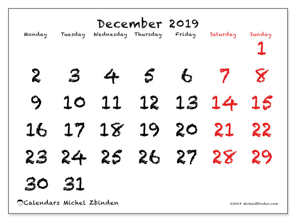 December 2019 Calendar, 46MS. Calendar for the month to print free.