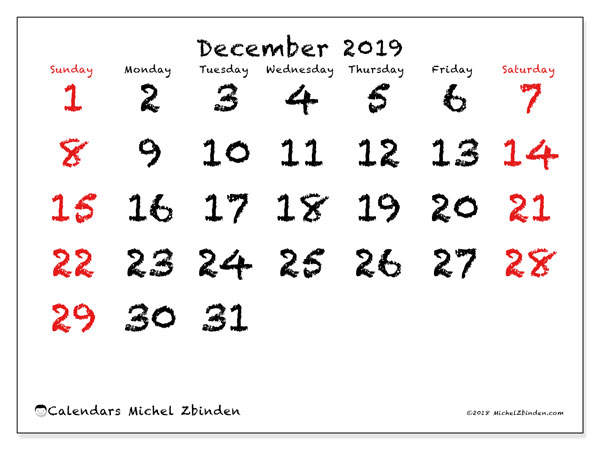 December 2019 Calendar, 46SS. Free printable monthly calendar.