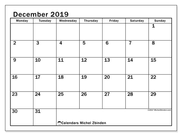 December 2019 Calendar, 50MS. Planner to print free.