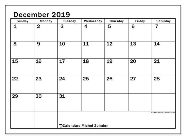 December 2019 Calendar, 50SS. Free printable bullet journal.