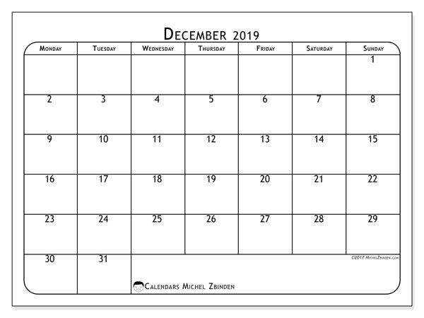 December 2019 Calendar, 51MS. Free printable bullet journal.