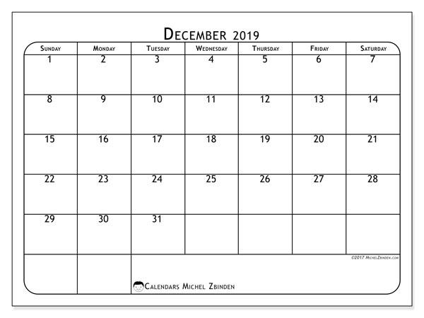December 2019 Calendar, 51SS. Free printable monthly planner.