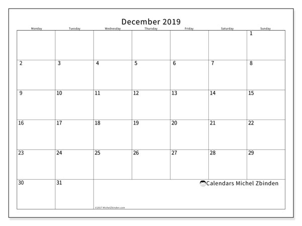 December 2019 Calendar, 53MS. Free planner to print.