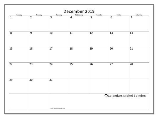 December 2019 Calendar, 53SS. Free planner to print.