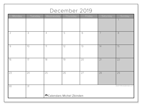 December 2019 Calendar, 54MS. Calendar for the month to print free.