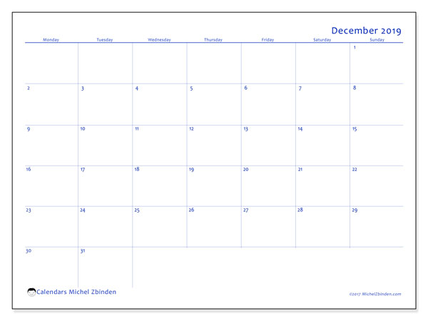 December 2019 Calendar, 55MS. Free bullet journal to print.