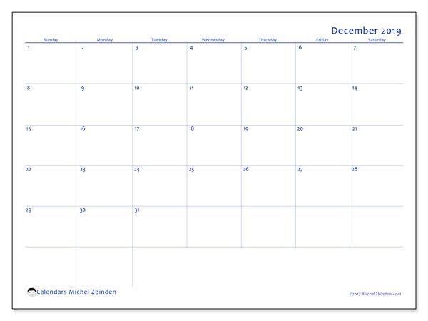 December 2019 Calendar, 55SS. Free printable monthly planner.