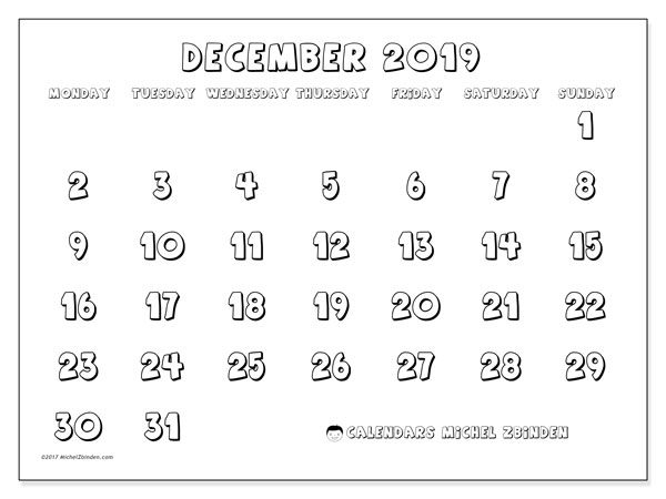December 2019 Calendar, 56MS. Calendar for the month to print free.