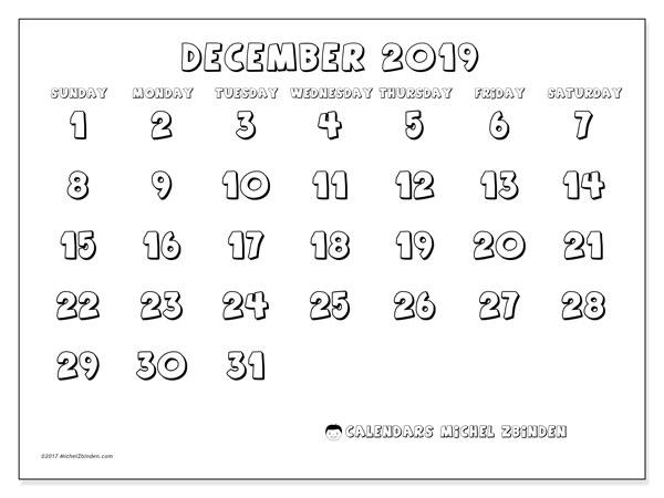 December 2019 Calendar, 56SS. Free printable calendar.