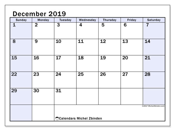December 2019 Calendar, 57SS. Free printable monthly calendar.