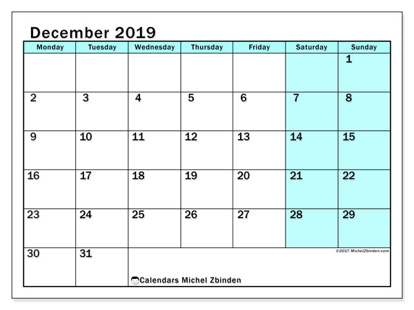 December 2019 Calendar, 59MS. Monthly planner to print free.