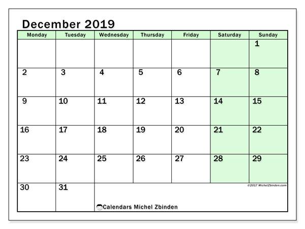 December 2019 Calendar, 60MS. Monthly calendar to print free.