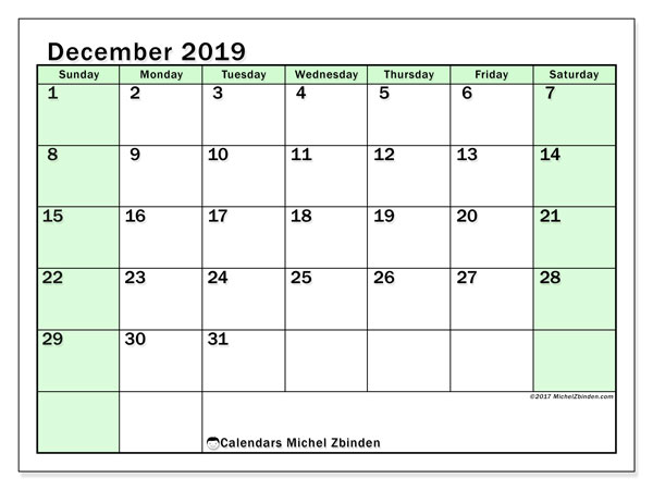 December 2019 Calendar, 60SS. Calendar for the month to print free.