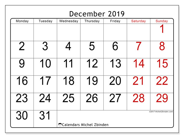December 2019 Calendar, 62MS. Free printable monthly planner.